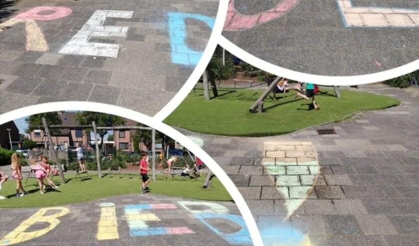 <p>• Enkele stoepkrijttekeningen op het schoolplein van De Knotwilg in Papendrecht.</p>