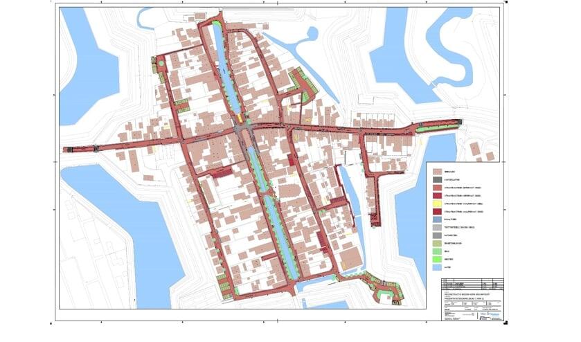• Een tekening van de reconstructie van het straatwerk in Nieuwpoort.