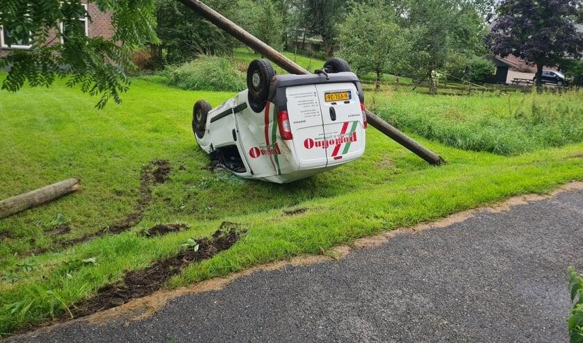 <p>&bull; De auto kwam ondersteboven in een tuin van een woning tot stilstand.</p>