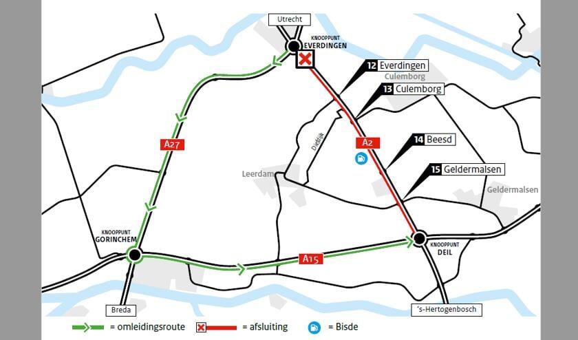 <p>Tijdens de werkzaamheden is de A2 tussen knooppunt Everdingen en knooppunt Deil volledig afgesloten voor het verkeer richting &rsquo;s-Hertogenbosch. </p>