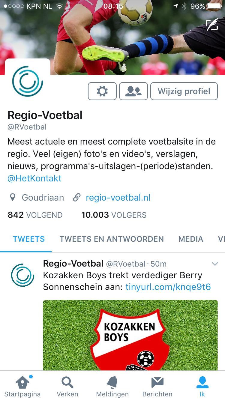 Regio-Voetbal: 10.000 volgers op Twitter, 7000 likes op Facebook