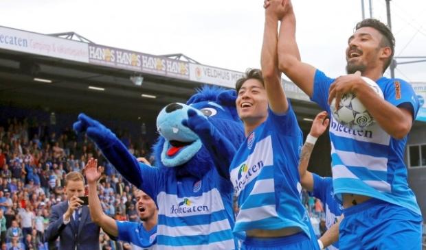 <p>Reza (rechts) scoorde eerder vier keer voor PEC Zwolle. Hier bij zijn debuut aan het begin van vorig seizoen tegen RKC Waalwijk.&nbsp;</p>