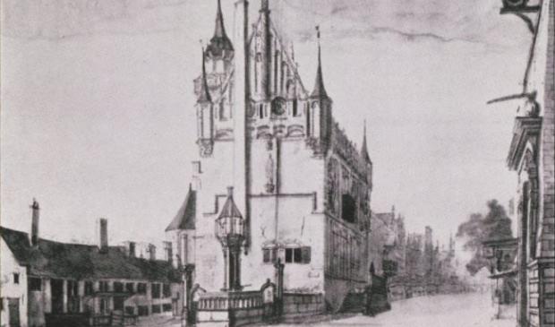 Gezicht op het oude Raadhuis (A. Beerstraaten)
