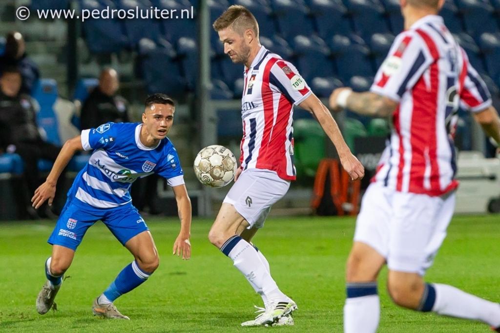 Eliano Reijnders (links) tijdens PEC Zwolle - Willem II. Pedro Sluiter © brugmedia