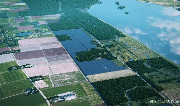 <p>Het te bouwen zonnepark bij Dorhout Mees.</p>