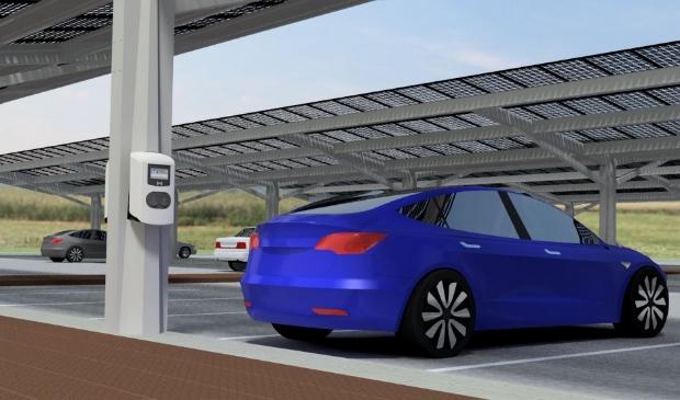 Impressie van parkeerplaats met zonnepanelen.