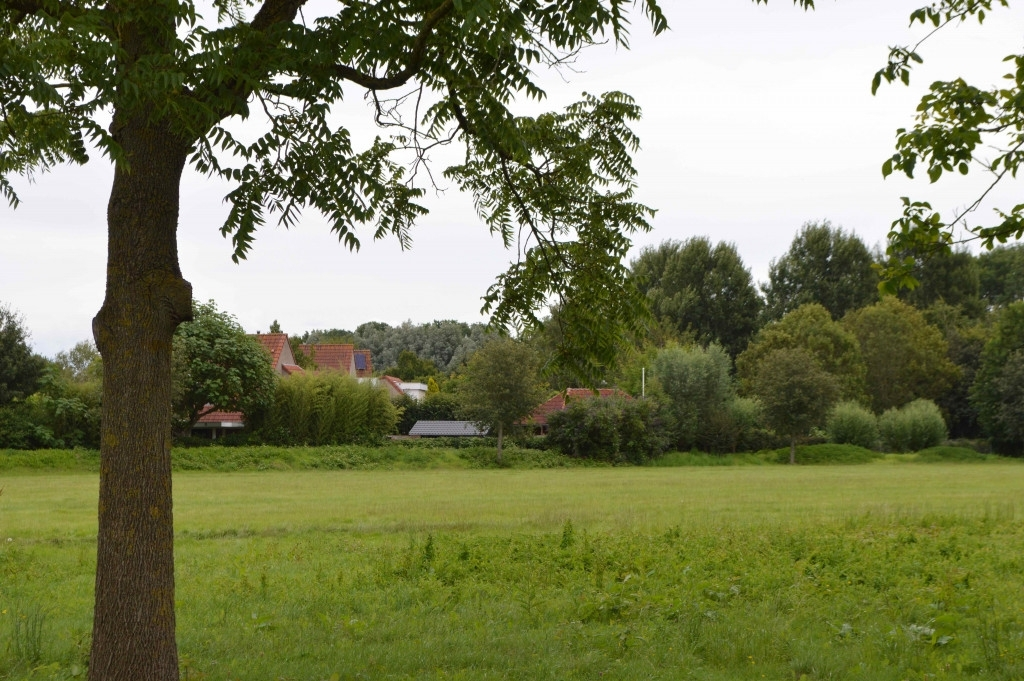 Het sportveld met de woningen aan De Sikkel.  ©maartenheijenk.nl