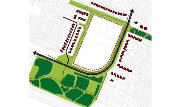 De groene randen van de nieuwe wijk.