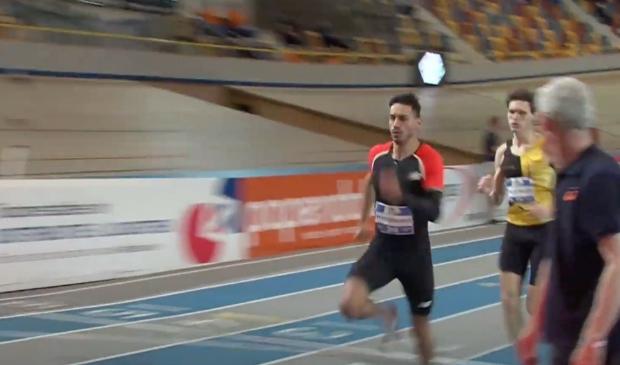 Owen Westerhout in actie tijdens zijn serie op de 400 meter.