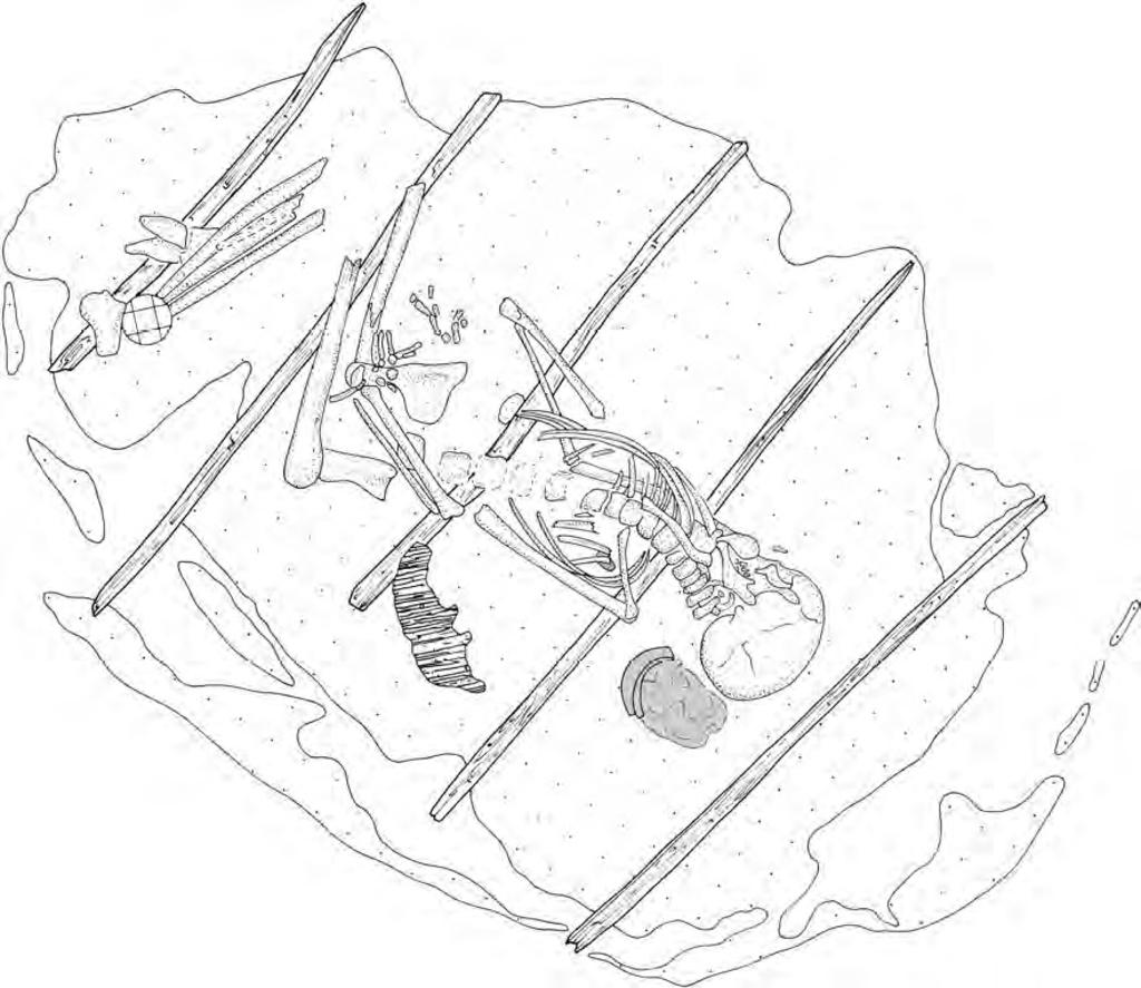 <p>Tekening van de grafkuil </p> <p>Bron: I.P.P. Amsterdam / T.J. ten Anscher, Leven met de Vecht: Schokland-P14 en de Noordoostpolder in het neolithicum en de bronstijd. (Amsterdam: T.J. ten Anscher, 2012), p. 331. </p>
