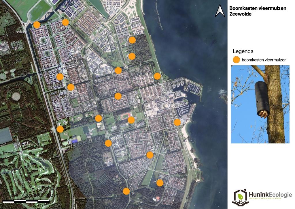 Locaties waar vleermuiskasten zijn opgehangen Hunink Ecologie