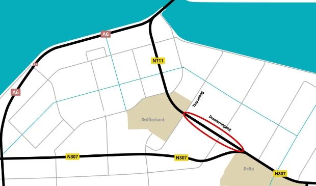 Via de A6 en de Overijsselseweg.