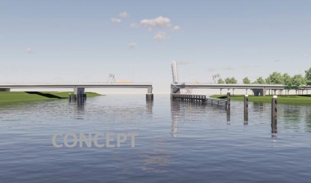 <p>Schets van de nieuwe brug bij Roggebot.</p>