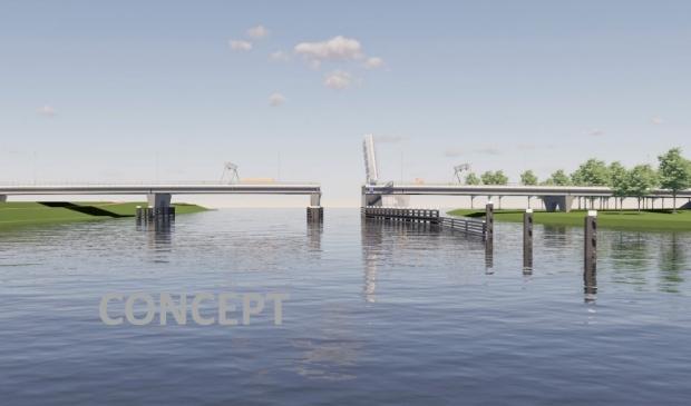 Er werd maandag een schets van de nieuwe brug getoond.