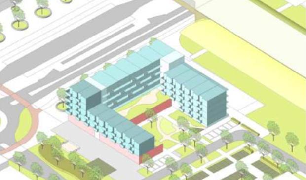 <p>Schets van het ontwerp met linksboven het stationsplein en rechtsboven het station.</p>