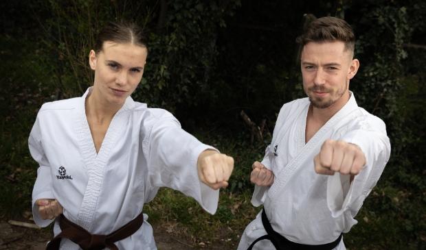 <p>Merel Landman en Dylan van Moerkerk van karateclub Mossel-Boot.</p>