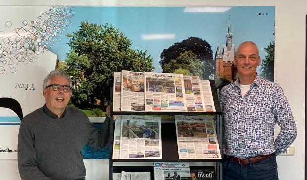 <p>Media-adviseurs Hans Koorn (l) en Wim Mossel.</p>