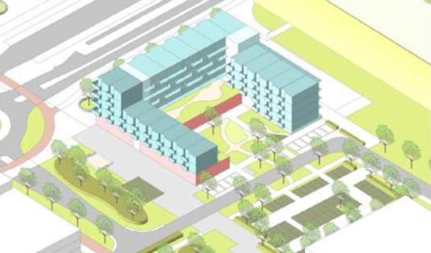 <p>Schets van het ontwerp van de praktijkschool met linksboven het stationsplein en rechtsboven het station.</p>