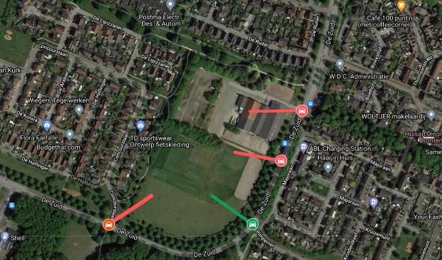 In het rood de opties van de gemeente, in het groen de suggestie van een aantal bewoners.
