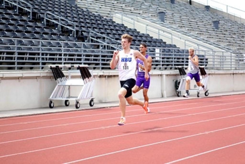 Scott Boon tijdens zijn 100 meter in Humble.