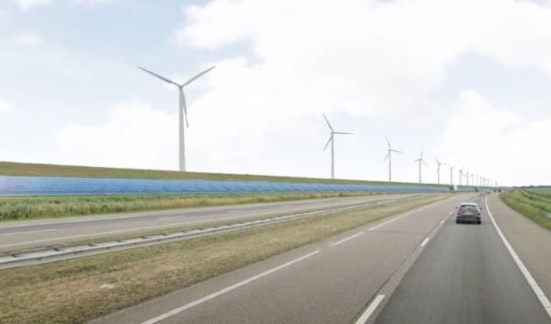 Het vanavond gepresenteerde plan voor zonnepanelen langs de IJsselmeerdijk.