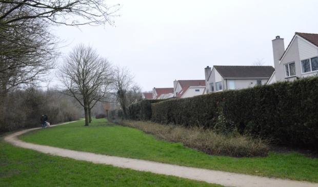 Een deel van het groen tussen de woningen aan de Concourslaan (re.) en de Flevomanege (li.).