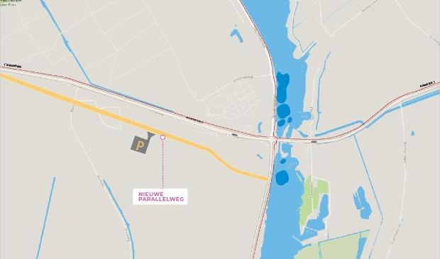 De nieuwe parallelweg langs de Hanzeweg.