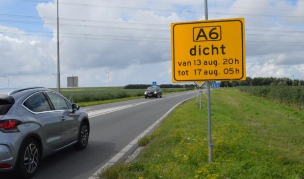 Afsluiting oprit naar de A6.