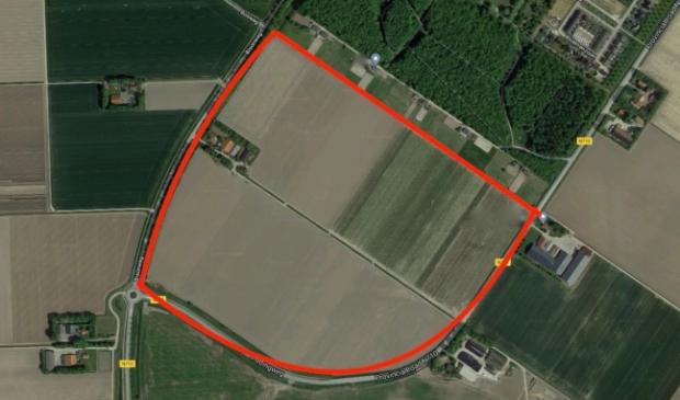 De grond van Swifterbant-zuid met daarin links het erf van de akkerbouwer.
