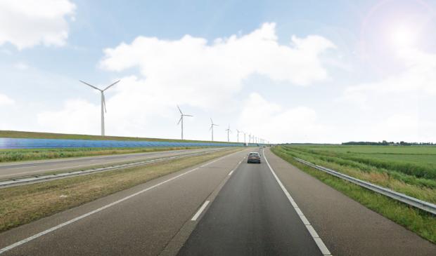 Een 'artist impression' van de zonnepanelen op het dijktalud langs de A6 bij Swifterbant.