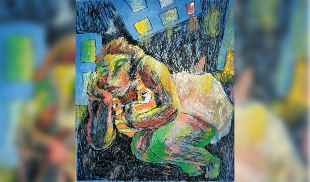 Slapende vrouw, gemengde techniek, ong. 15 x 15 cm, jaren '90