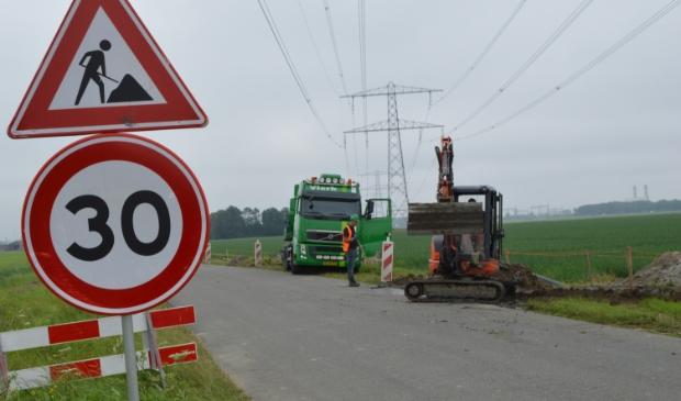 Werkzaamheden voor Windplan Blauw aan de Visvijverweg.