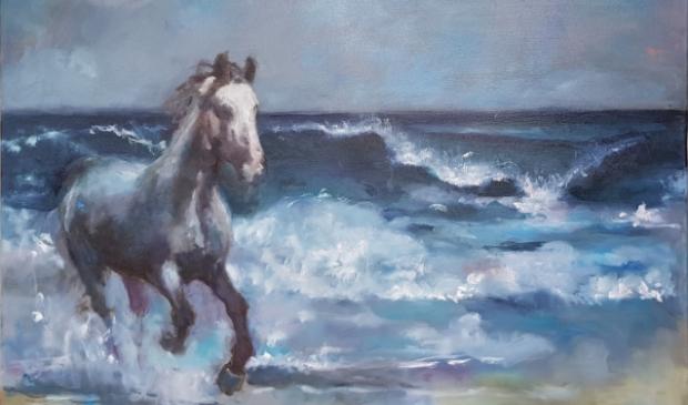 Paard, vluchtend voor de vloedgolf