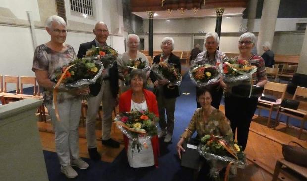 De jubilarissen van het Hervormd Kerkkoor Kampen (E. Knoeff niet op de foto)