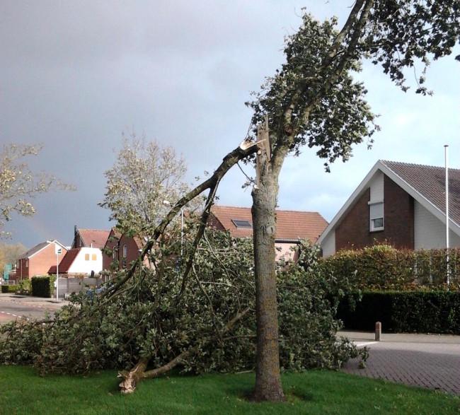 Stormschade in binnenstad Zwolle