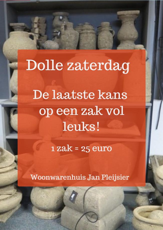 Wegens groot succes nogmaals voor 25 euro een volle vuilniszak bij Woonwarenhuis Jan Pleijsier