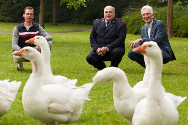 Voorgangers  Gijs de Bree, Aalt Fikse en Sjoerd van de Velde hopen op meer belangstelling dan de vaste parkbewoners.
