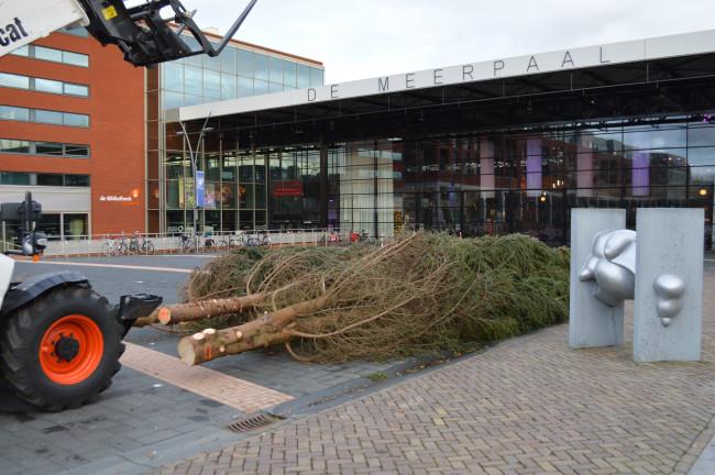 Kerstbomen op het Redeplein.