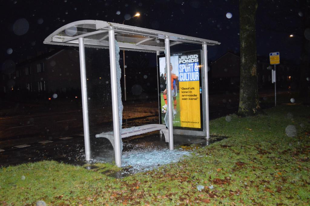 Er werd in Swifterbant onder andere een bushokje vernield.