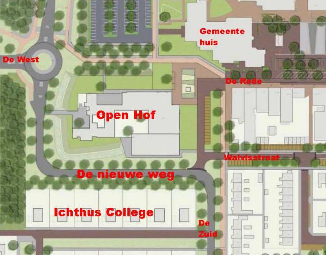 De voorgestelde nieuwe verkeerssituatie rond de Open Hof.