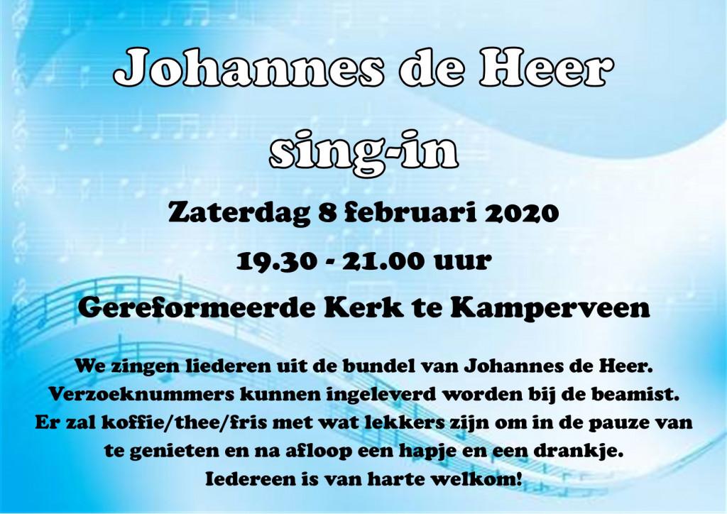 zaterdag 8 februari - Johannes de Heer sing-in Kamperveen