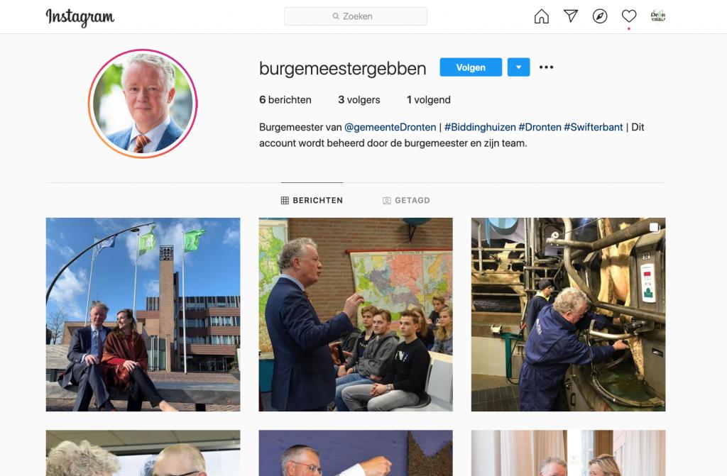 Burgemeester Gebben gaat wekelijks iets plaatsen op Instagram