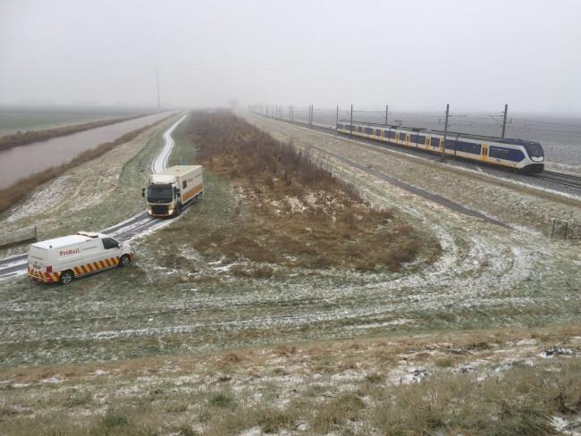 De gestrande trein bij de Oudebosweg.