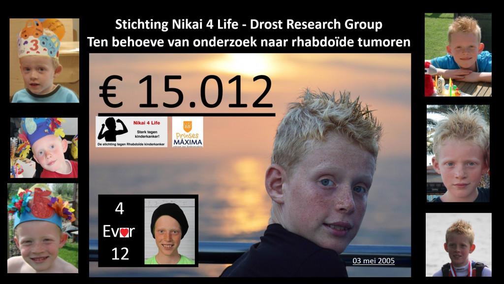 Stichting Nikai 4 Life overhandigt cheque van 15.012 euro aan Jarno Drost Research Group