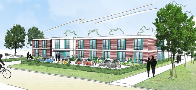 Tekening van het nieuwe project in Dronten.
