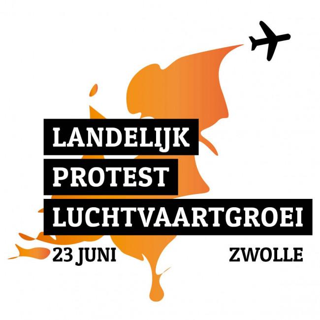 Protest tegen Lelystad Airport en luchtvaartgroei