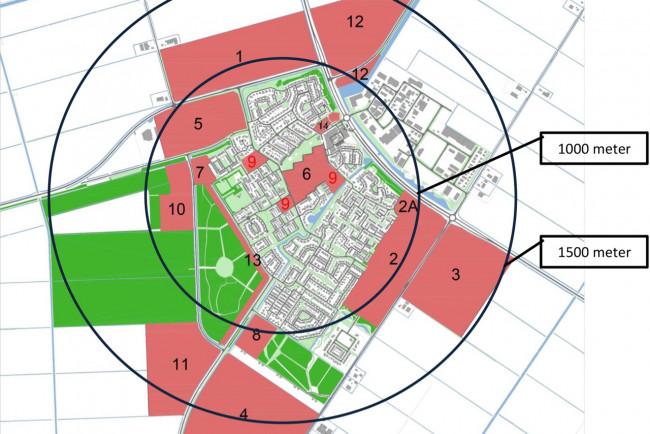 De mogelijke woningbouwlocaties in Swifterbant