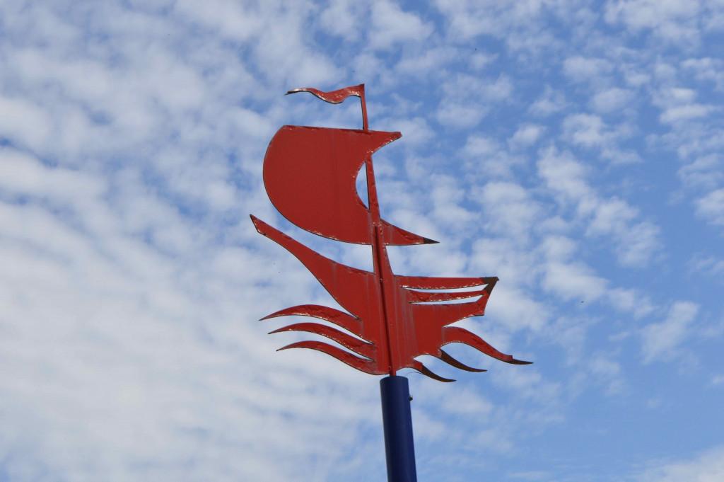 Markering van een scheepswrak in Dronten.