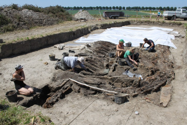 Archeologische opgraving bij Dronten.