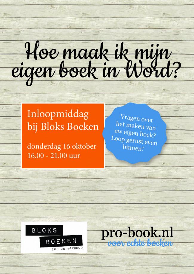 16 oktober: 'Hoe maak ik mijn eigen boek in Word' bij Bloks Boeken